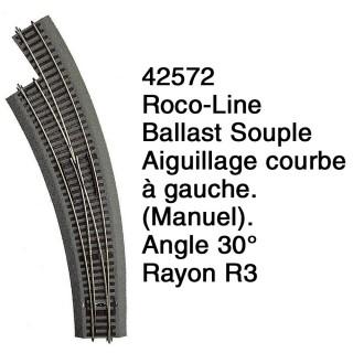Aiguillage courbe à gauche R3 Ballast Souple-HO 1/87-ROCO 42572