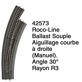Aiguillage courbe à droite R3 Ballast Souple-HO 1/87-ROCO 42573