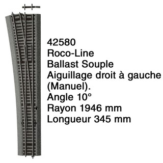 Aiguillage droit à gauche Ballast Souple-HO 1/87-ROCO 42580
