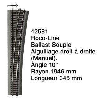 Aiguillage droit à droite Ballast Souple-HO 1/87-ROCO 42581