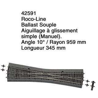 Aiguillage à glissement simple Ballast Souple-HO 1/87-ROCO 42591