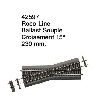 Croisement 15° Ballast Souple-HO 1/87-ROCO 42597