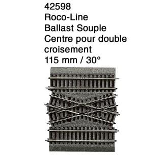 Centre pour double croisement 30° Ballast Souple-HO 1/87-ROCO 42598