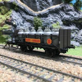 Wagon transport d'acide St Gobain SNCF Ep III-HO 1/87-BRAWA 49308