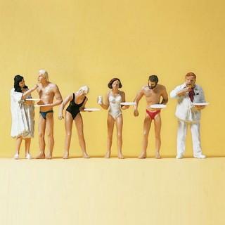 6 personnages mangeant autour de la piscine-HO 1/87-PREISER 10424