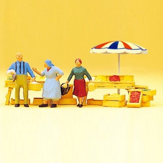Scène de Marché, personnages + accesoires-HO 1/87-PREISER 10056