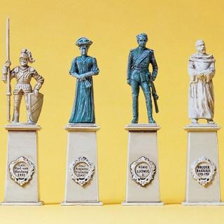 4 Statues sur piédestal-HO 1/87-PREISER 10525
