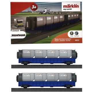 "2 Wagons porte containers ""Jettainer""-HO 1/87-MARKLIN 44117"