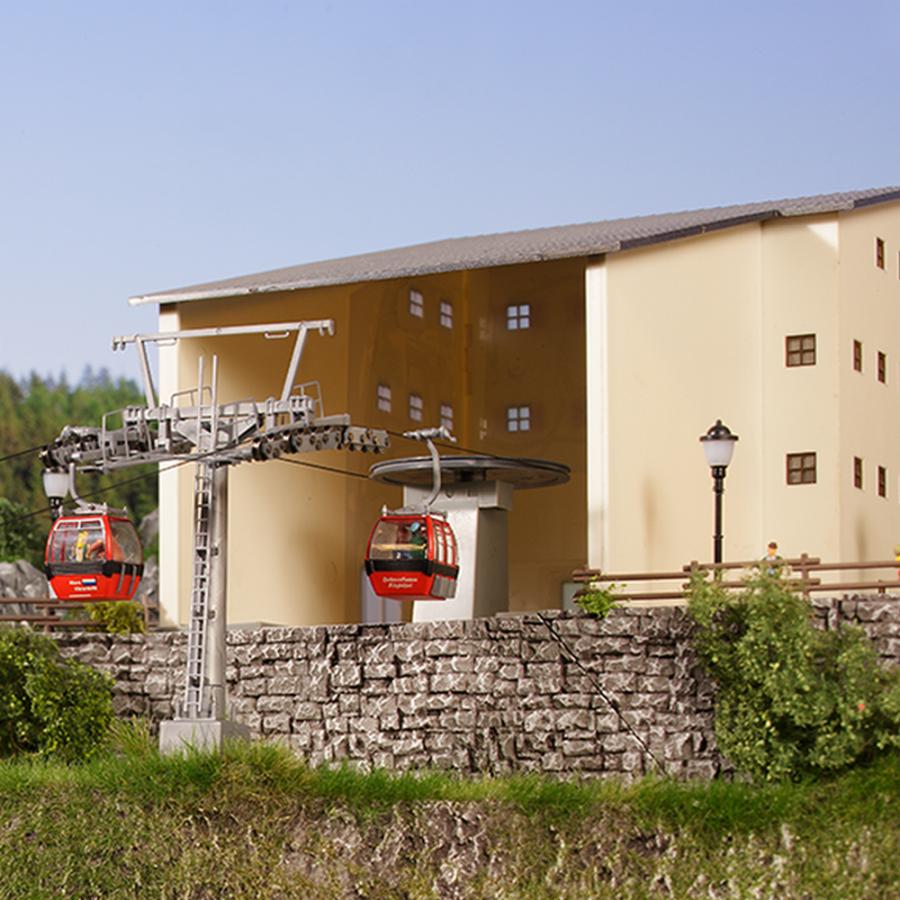 """2 Stations """"amont et aval"""" pour téléphérique-HO 1/87-BRAWA 6343"""