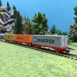 Lot de 3 wagons porte containers MSC, MAERSK, Hapag Lloyd Ep VI-N 1/160-FLEISCHMANN 931882A