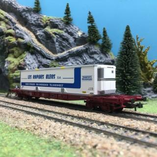 Wagon plat Sgss 63-6, Les Rapides Bleus SA SNCF Ep V-VI-HO 1/87-JOUEF HJ6169