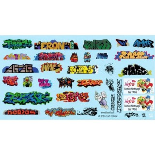 Tags / Graffitis décalcomanies-HO 1/87-TCHOUTCHOU 87016