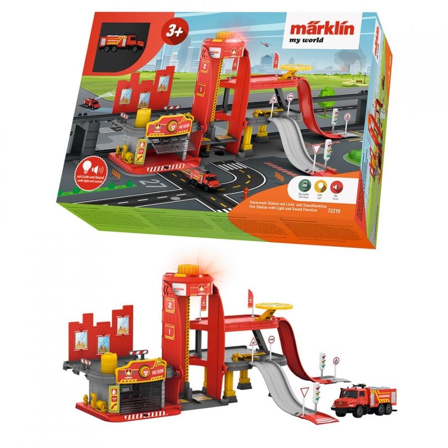 Caserne de pompiers sons & lumières-HO 1/87-MARKLIN 72219