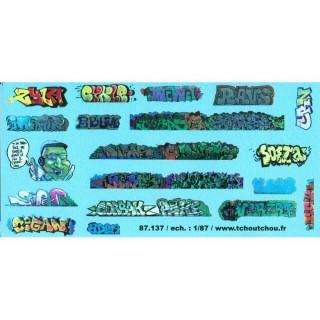 Tags / Graffitis décalcomanies-HO 1/87-TCHOUTCHOU 87137