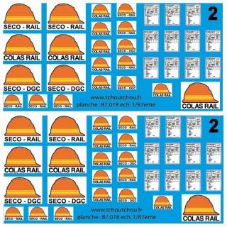 SECO DGC/RAIL/COLAS RAIL décalcomanies-HO 1/87-TCHOUTCHOU 87018