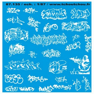 Tags / Graffitis décalcomanies-HO 1/87-TCHOUTCHOU 87135
