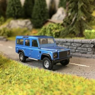 Land Rover Defender Bleu Métal-HO 1/87-BUSCH 50352