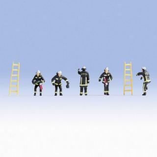 5 pompiers Français + accessoires-HO 1/87-NOCH 15023