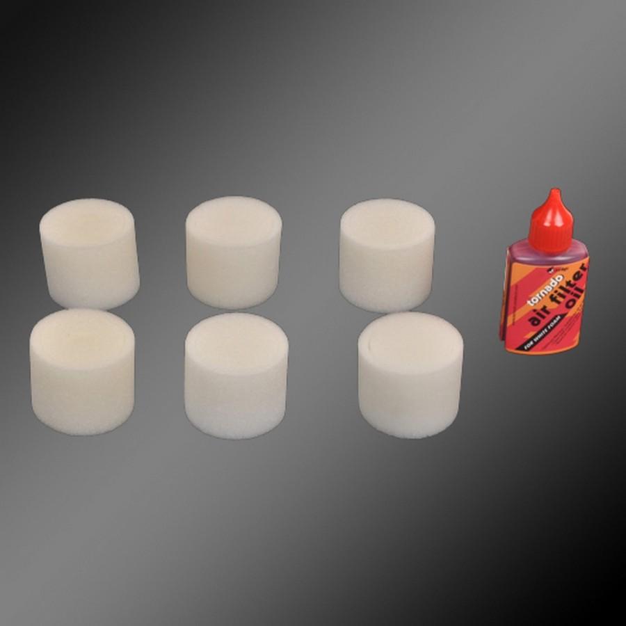 Kit 6 mousses de filtre à air + huile - 1/8 - TORNADO J19002/01