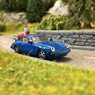 Porsche 911 G 1976 Bleue-HO 1/87-BREKINA 16315