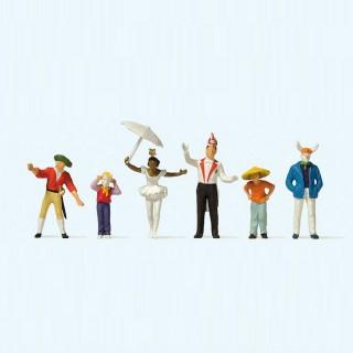 6 personnes déguisées pour le Carnaval-HO 1/87-PREISER 24645