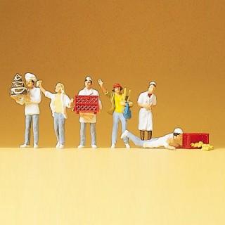 6 Boulangers-Patissiers au travail-HO 1/87-PREISER 10377
