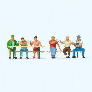 6 personnages + accessoires-HO 1/87-PREISER 10703