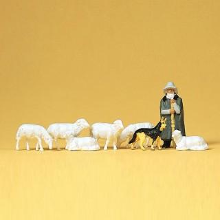 Berger avec son chien et ses moutons-HO 1/87-PREISER 14160