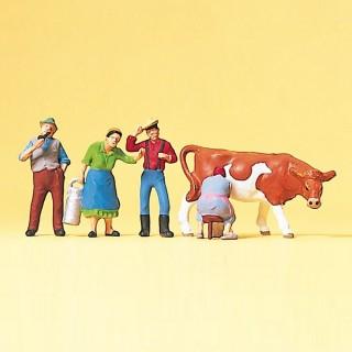 4 fermiers + 1 vache-HO 1/87-PREISER 10044