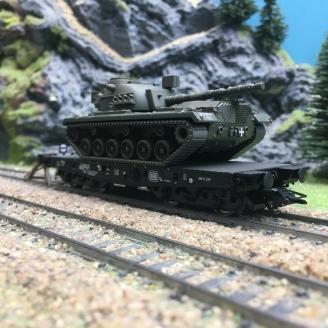 Wagon plat Rlmmps 650 + char M48 DB Ep IV-HO 1/87-TRIX 24214