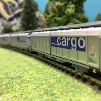 3 wagons à parois coulissantes Hbbillns CFF Cargo Ep VI-N 1/160-MINITRIX 15282