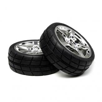 2 Roues Chromées à pneus radiaux 24 mm - Hexa 12 mm - 1/10 1/12 - TAMIYA 53955