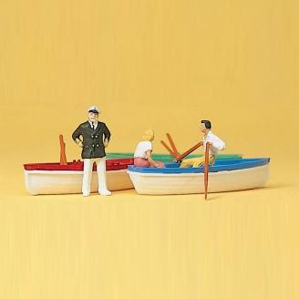 3 personnages avec leur barque-HO 1/87-PREISER 10072