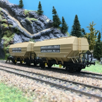 2 wagons céréaliers Ep III COOP. AGR. de l'Ardour-HO 1/87-REE WB555