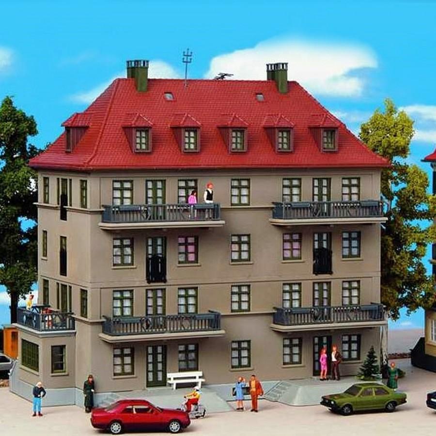 Immeuble avec balcons et terrasses-HO-1/87-KIBRI 38357