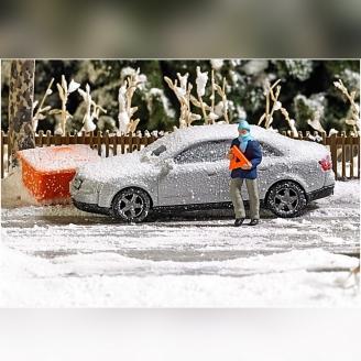Accident sous la neige-HO 1/87-BUSCH 7858