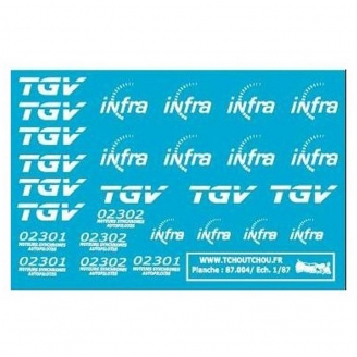 TGV + INFRA décalcomanies-HO 1/87-TCHOUTCHOU 87004