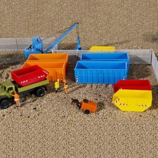 Set bennes à déchets-HO-1/87-KIBRI 38648