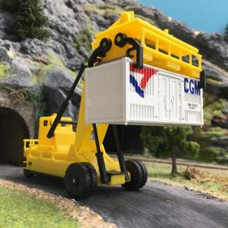 Chariot élévateur porte-conteneurs + un conteneur FS-CGM-HO 1/87-LIMA Hobby HL8001