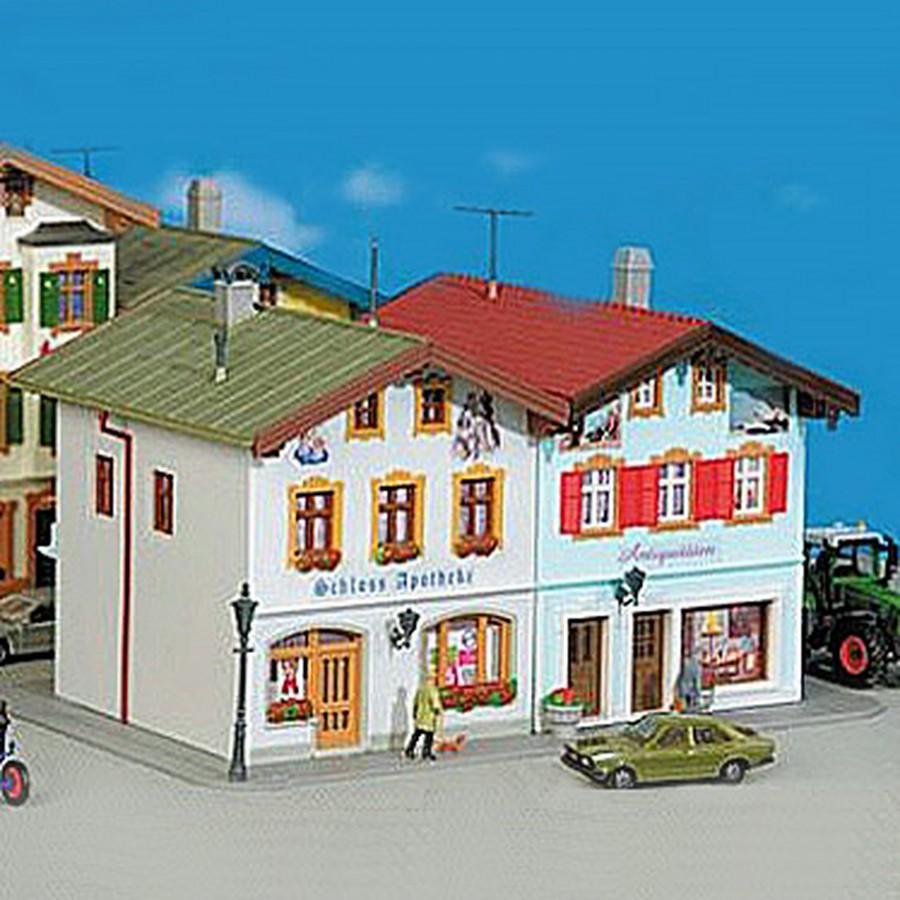 Maison jumelées avec commerces-HO-1/87-KIBRI 38821