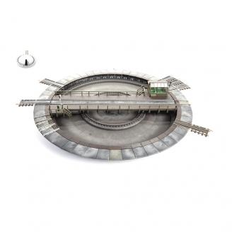 Pont tournant électrique 48 voies pour systèmes 3 Rails-HO-1/87-FLEISCHMANN 665201