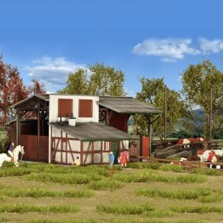 Étable avec Quai de chargement bétail-HO-1/87-KIBRI 39096