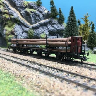 Wagon transport de bois K.P.E.V. Ep I-HO 1/87-ROCO 76405