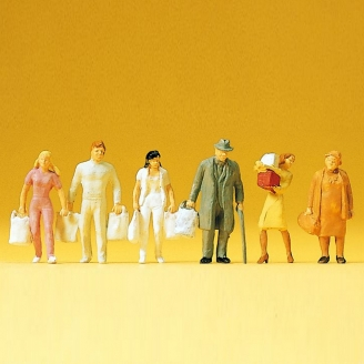 6 personnages faisant les courses-HO 1/87-PREISER 14136