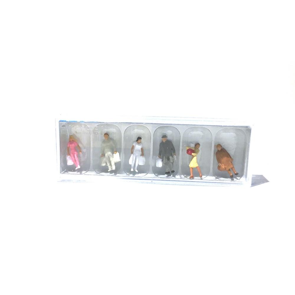 6 personnages à la sortie des magasins échelle HO 1//87 PREISER 10121