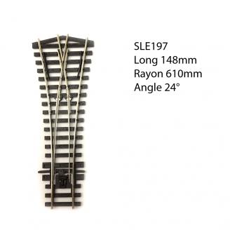 Aiguillage symétrique court 148mm, 24°, code 75  -HO 1/87-PECO SLE197