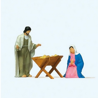 Marie et Joseph autour du berceau-HO 1/87-PREISER 29091