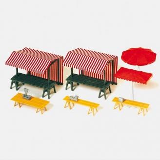 Le Marché, Stands et parasols-HO 1/87-PREISER 17500