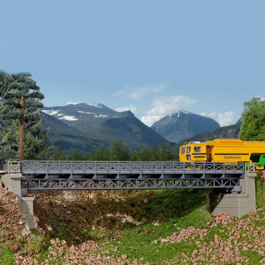 Pont droit à colombages acier 1 voie-HO-1/87-KIBRI 39707
