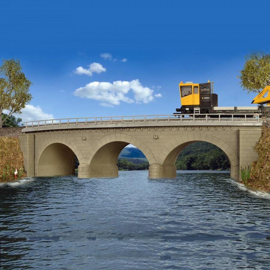 Pont courbe à arc maçonné 1 voie-HO-1/87-KIBRI 39722